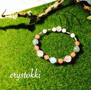 Customised Mixed Crystal Bracelet (Rose Quartz, Aventurine, Moonstone, Cherry Quartz, Milky Quartz)