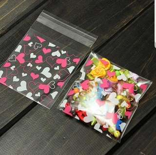 NEW 7cm Mini Hearts / Flower Design Cookie or Candy Plastic Pouch 20 pcs