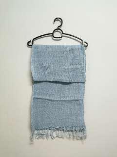 greyish blue knit scarf
