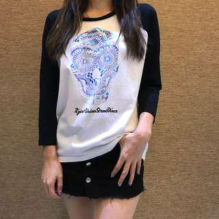 🈹X-girl x vision 🔥夏日瘋狂勁減☀️ 骷髏圖案print tee made in Japan size 1