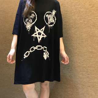 ☀️夏日勁減大特賣🔥英國潮牌 LONG CLOTHING 暗黑系oversized-長版T