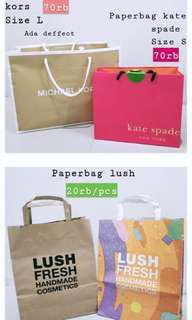 Paperbag kate spade, michael kors, zara, the body shop, lush, bath and body works