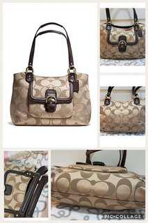 """Authentic Coach Campbell """"Belle"""" signature carry all bag in mahogany"""