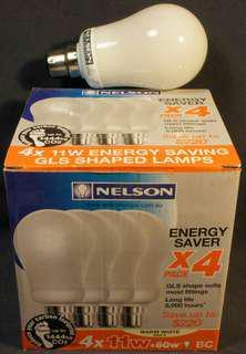 4 New Nelson 11W=60W 8k-hr Warm White GLS Shaped Energy Saving!!!