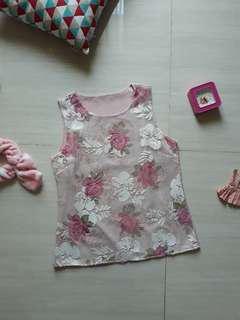 Pink Flowery Sleeveless Top