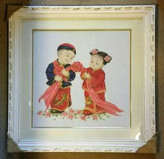 New Oriental Hand Embroidered Boy Girl Traditional Deco Frame Gr8