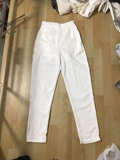 Celana panjang putih model highwaist