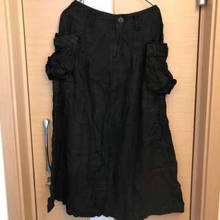 Initial黑色百搭中長裙 dress skirt one piece
