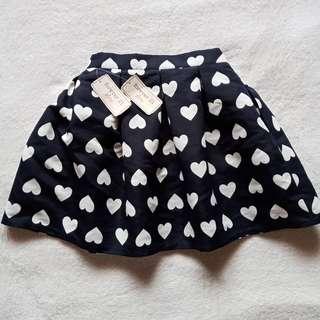 Forever 21 Dark Blue & White Heart Printed Pleated Mini Bubble Skirt