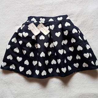 Forever 21 Dark Blue & White Heart Printed Pleated Mini Bubble Skirt