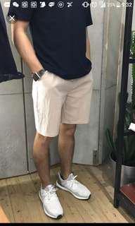 麻~短褲 (白色) 輕身透氣