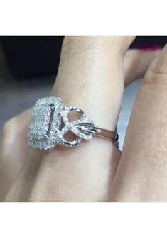 18k白金鑽石戒指1.21ct極大體