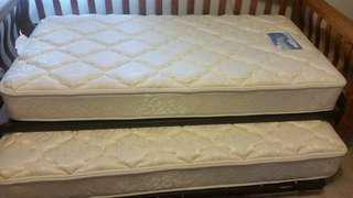 Name:Wooden frame Mission-style Trundle Bed with mattresses & holder straps