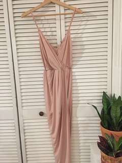 Blush Pink Wrap Draped Dress