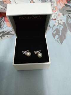 Pandora Earrings 蝴蝶結珍珠耳環