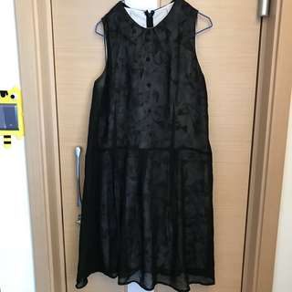 Initial 黑白雲石紋連身裙 one piece party dress skirt