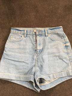 Denim 'mom' style shorts
