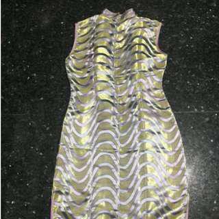 黃色紫閣連身旗袍