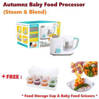 Autumnz 2-in-1 Baby Food Processor (Steam & Blend) with FREE Gifts (Turquoise)