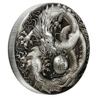 Dragon 5 oz Antique Silver Proof 2018
