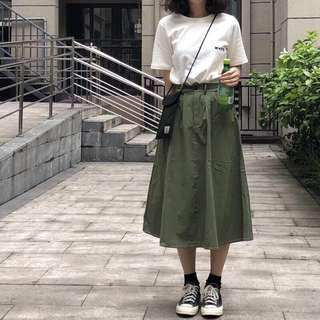 🚚 🎉(現貨) 軍綠色 工裝裙 卡其裙 A字裙 文青