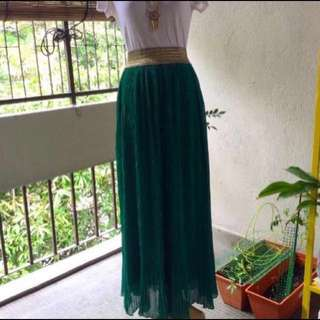 Green Pleated Long Skirt