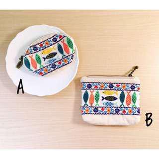 🚚 🎉(現貨)❗️手工❗️零錢包 收納包 棉麻材質 刺繡 民俗 民族風