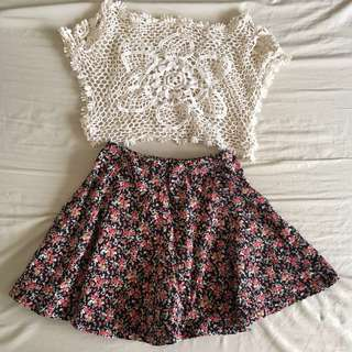 Buy 1 Get 1: Forever 21 Floral Skater Skirt + Crochet Top