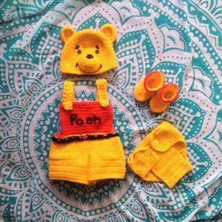 crochet winnie the pooh babyset