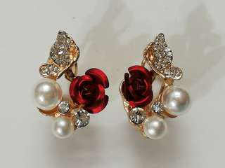 Red Rose Flower Pearl Yellow Gold Plated Crystal Stud Earrings