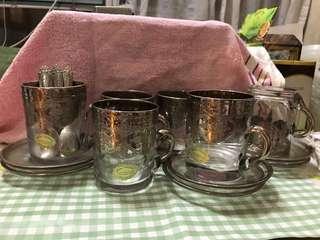 意大利名牌Cristal t Murano Italy 手製古懂杯碟一套