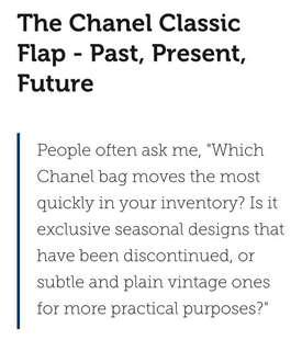 INFO ON CHANEL CLASSIC FLAP BAG & PRICE APPRECIATION
