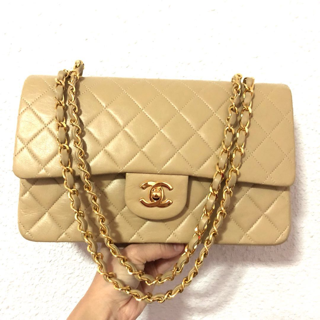 cca4035936ee RESERVED Authentic Chanel Beige Classic Flap Bag with 24k Gold ...