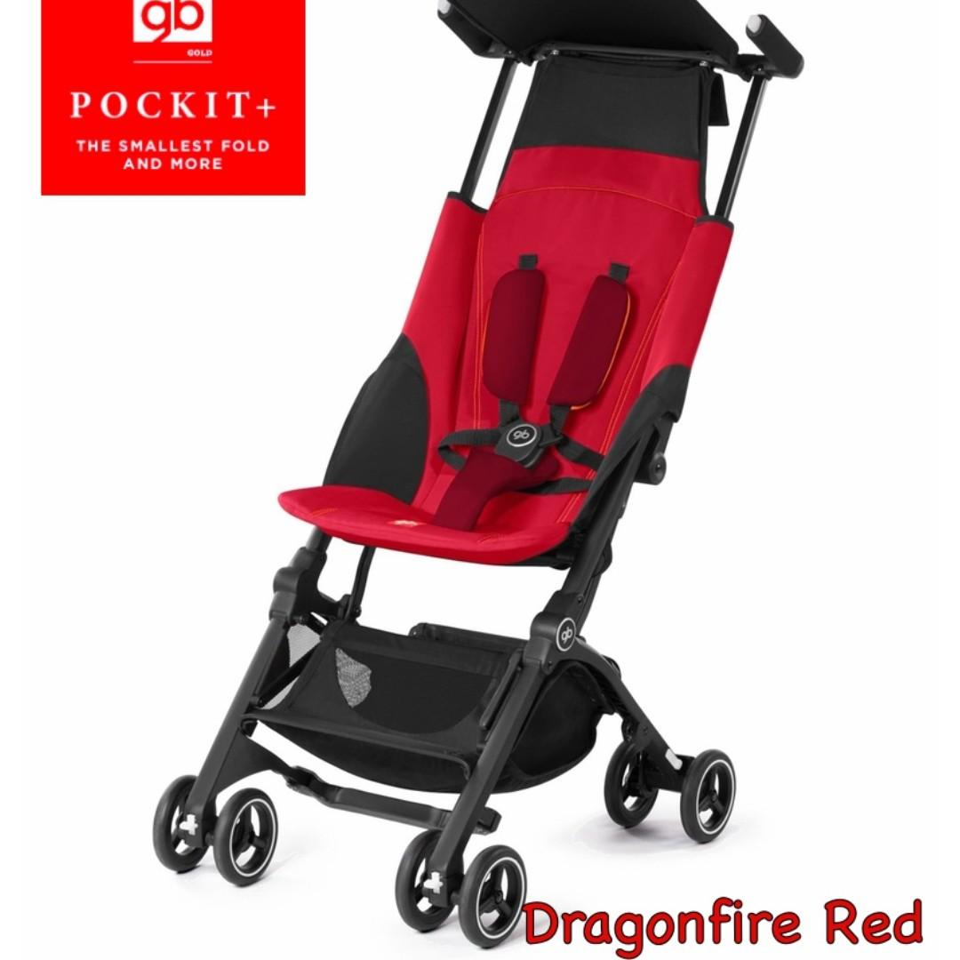 [BNIB] GB Pockit+ 2017 | Flight cabin size, Lightweight, Reclineable | Color: Dragonfire Red | FREE DELIVERY