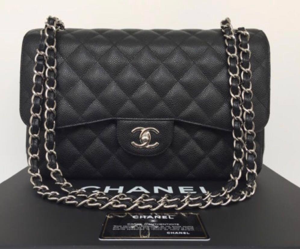 798439077b12f2 Chanel black jumbo caviar SHW, Luxury, Bags & Wallets, Handbags on ...