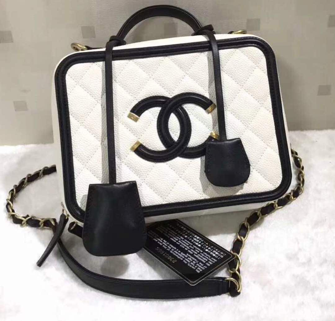 Chanel vanity case black white luxury bags wallets handbags on carousell