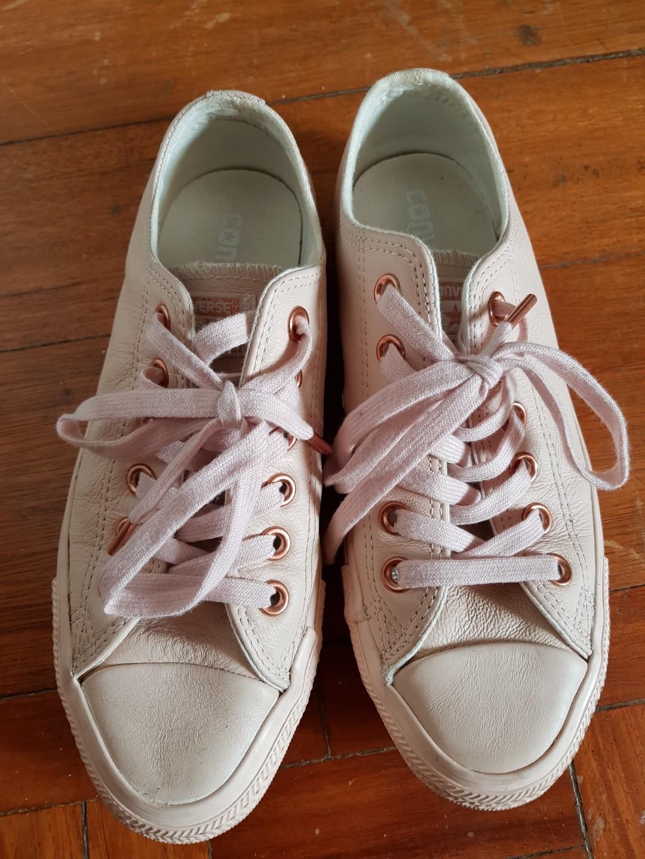 7950f63f733a3e Converse leather Blush pink rose gold chuck taylor