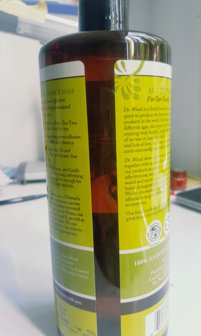 dr woods tea tree castile soap with fair trade shea butter