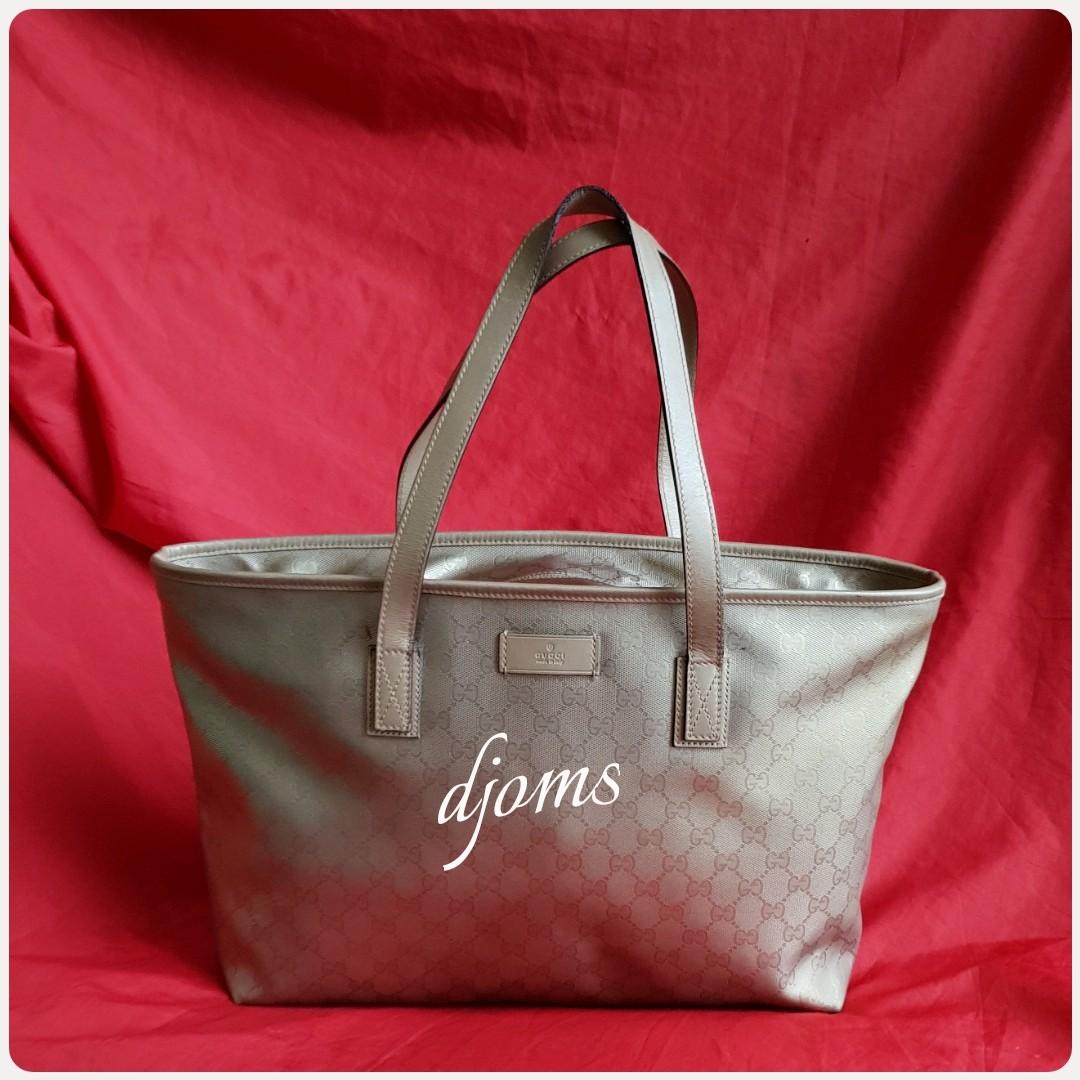 c3d93f44a13 ✓Gucci Bag Imprime GG canvas matte gold tote bag