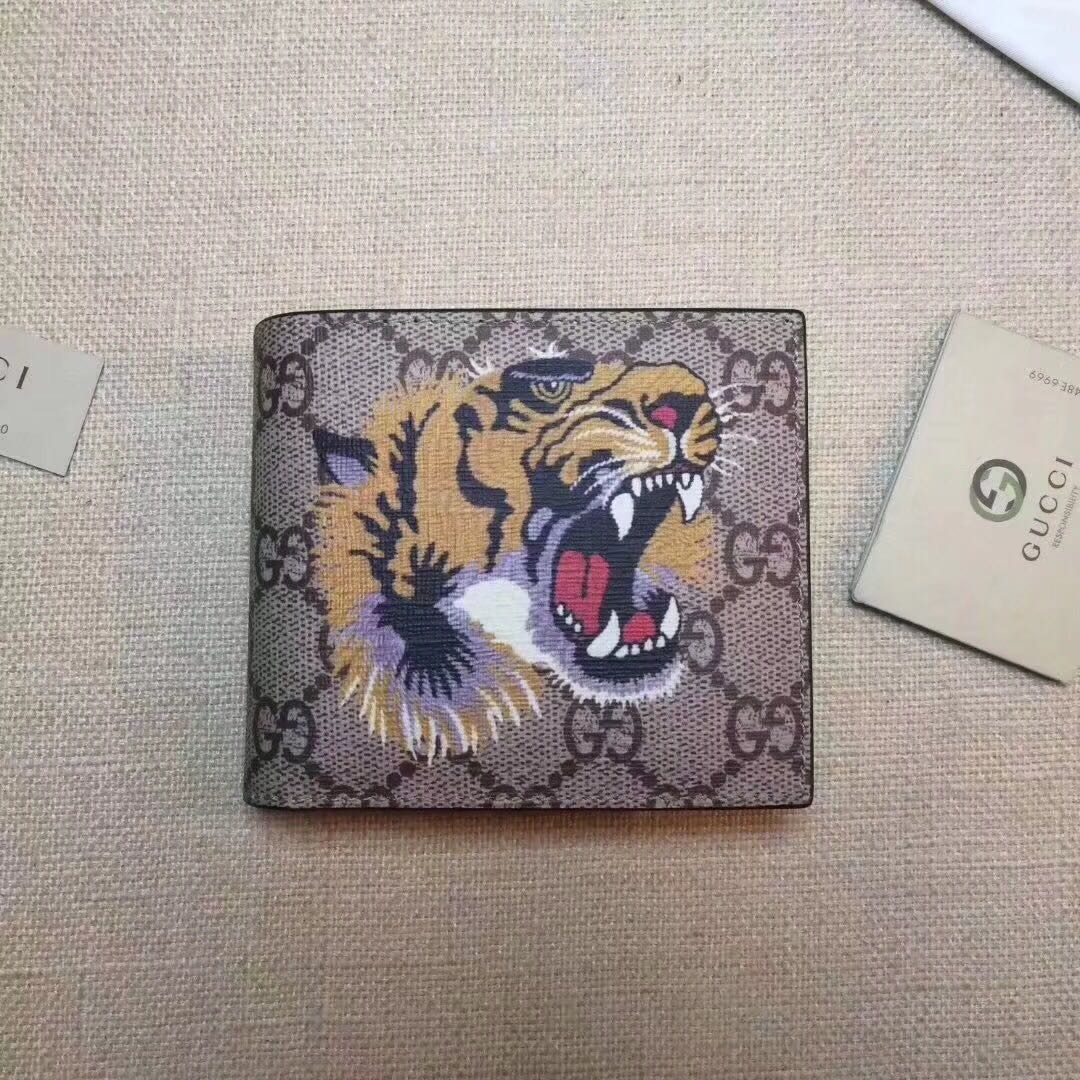 693b754e0b996e Gucci Tiger Print GG Supreme Wallet, Luxury, Bags & Wallets on Carousell