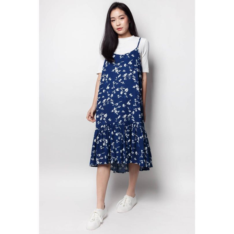 e7aa94d758 HANNIE Ruffle-Hem Midi Dress (Blue)