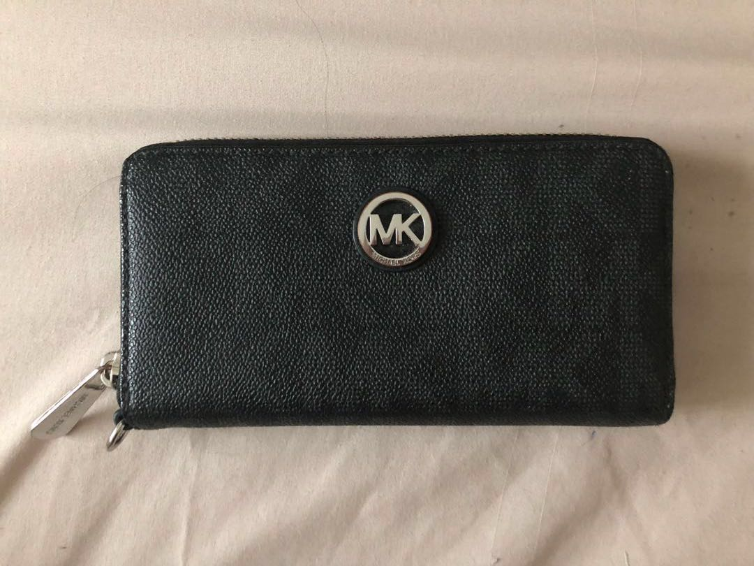 d3b7ca54dfcc5 Michael Kors Monogram Continental Black Wallet