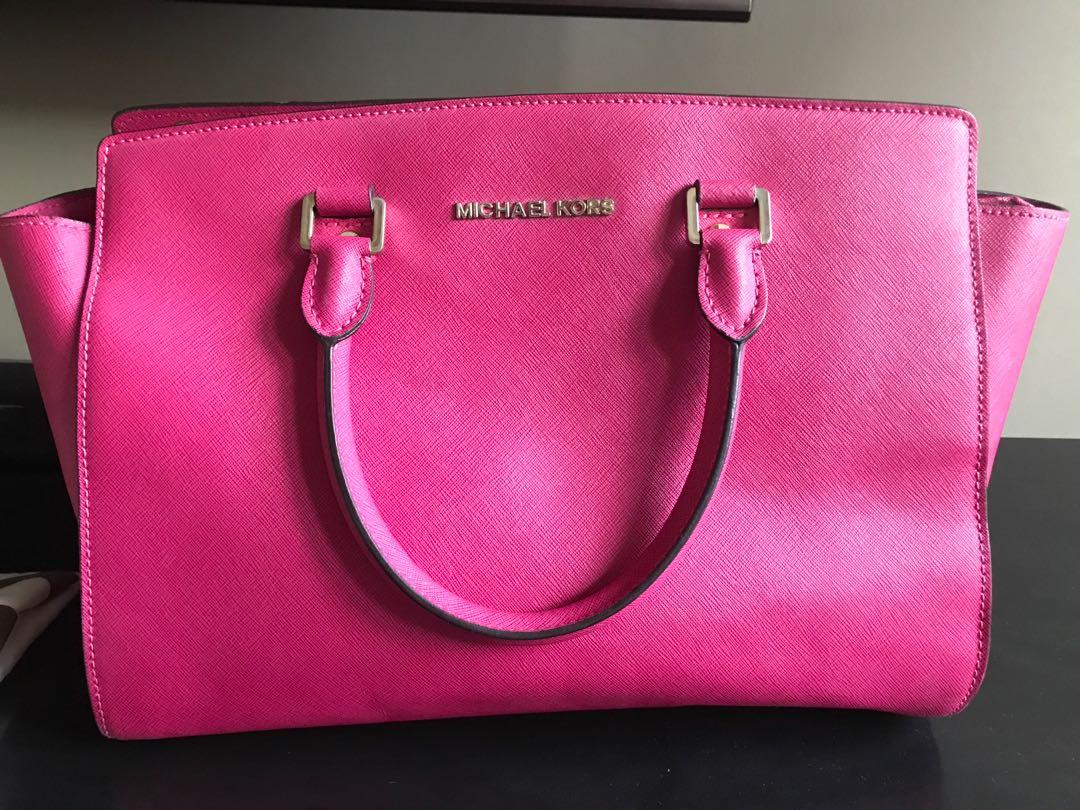michael kors selma big pink bag women s fashion women s bags rh id carousell com