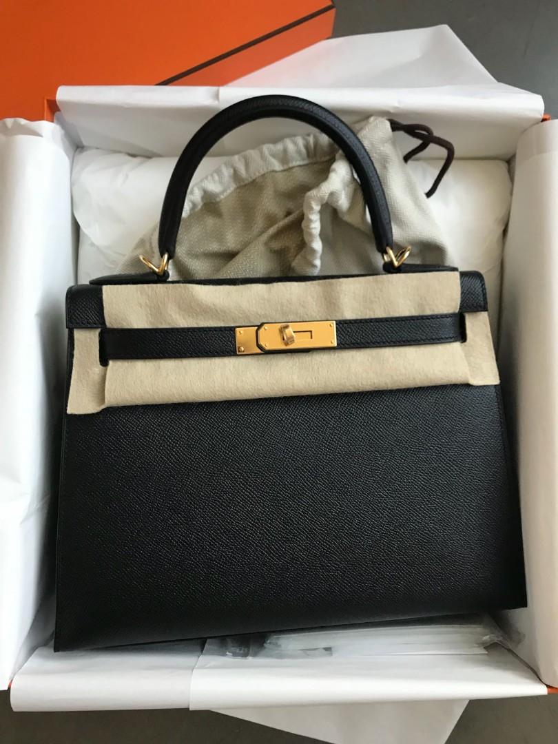 fe144d52277 NEW HERMES KELLY 28 SELLIER BLACK EPSOM GHW, Luxury, Bags & Wallets ...