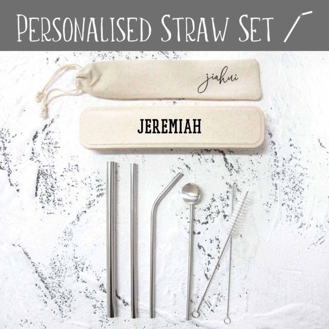 Personalised 6pc Reusable Drinking Straw and Brush Set