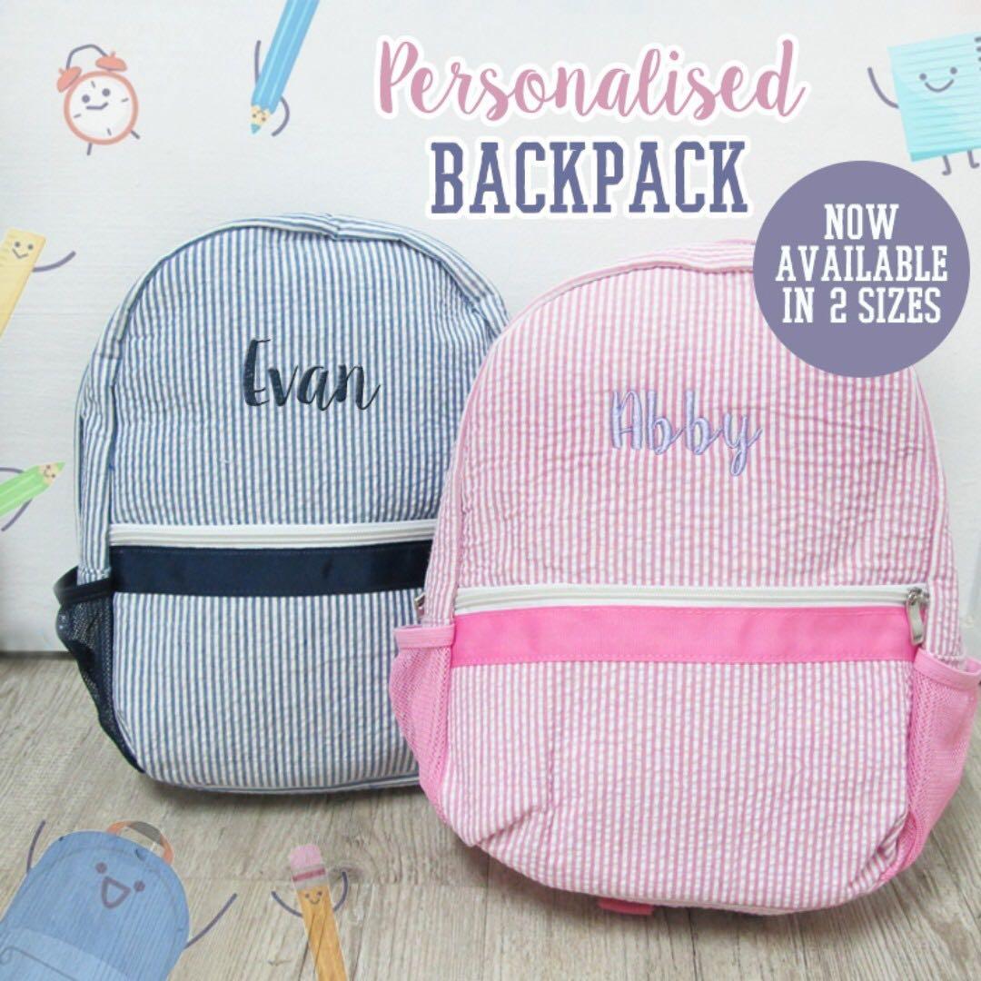 01bfc49707 Personalised Seersucker Backpack   Kids School Bag   Toddler Bag ...