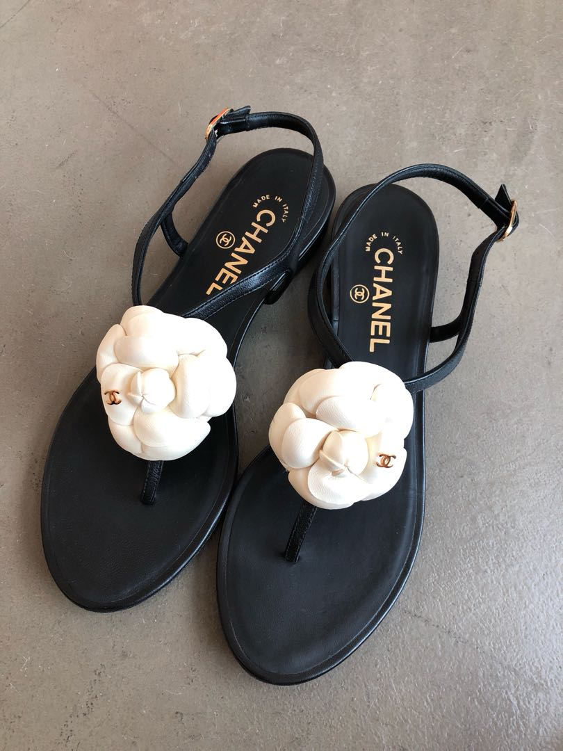 dc6df4b90 Preloved Chanel Camellia Sandals