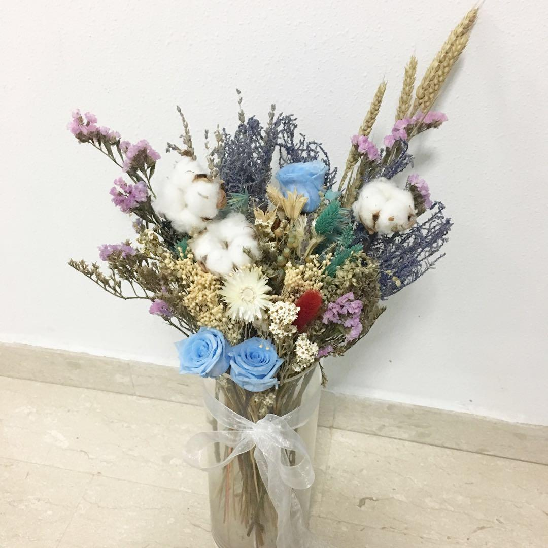 Premium Dried Flower Vase Arrangement With Preserved Blue Rose And Cotton Design Craft Handmade Craft On Carousell