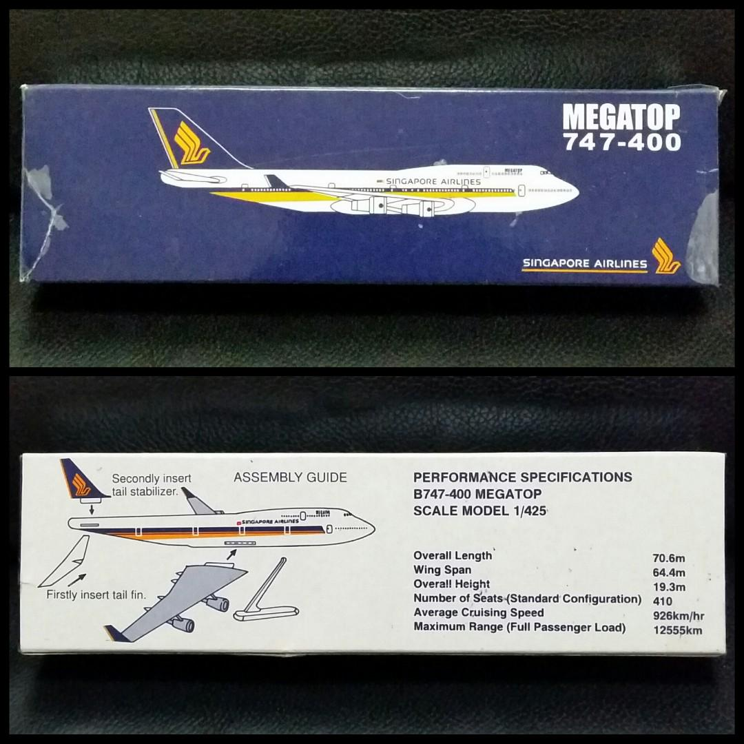 Singapore Airlines (SIA) Megatop 747-400 Airplane Model