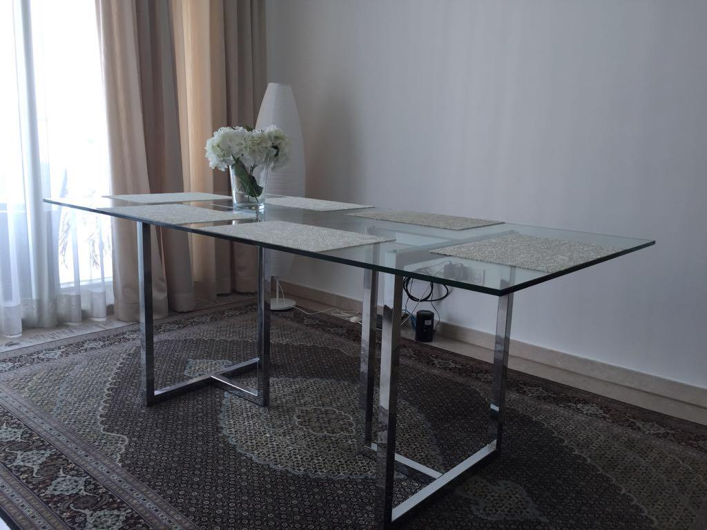 Picture of: Silverrado Chrome Rectangular Glass Dining Table Furniture Tables Chairs On Carousell